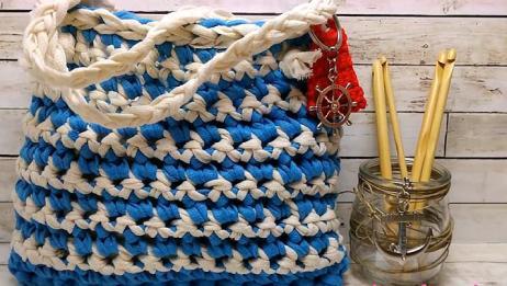 钩针编织手提袋,有需要的朋友也来试着编织吧