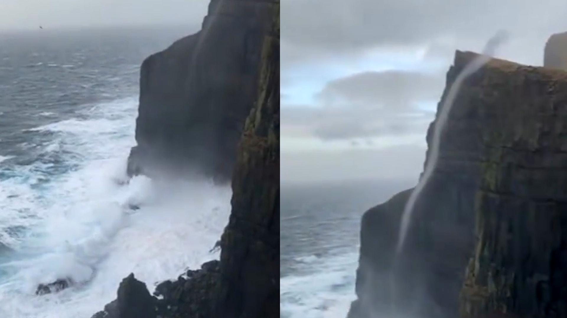 奇观!丹麦现反重力瀑布 逆流而上冲过470米绝壁