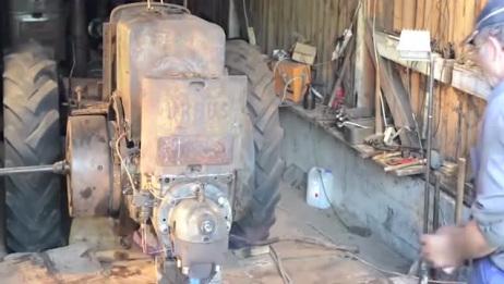 国外大爷修复一台报废的拖拉机,别人欣赏古董,他却收藏