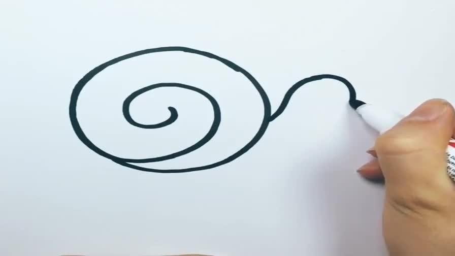 可爱笔画简恐龙软体动物早教v笔画蜗牛癌图片