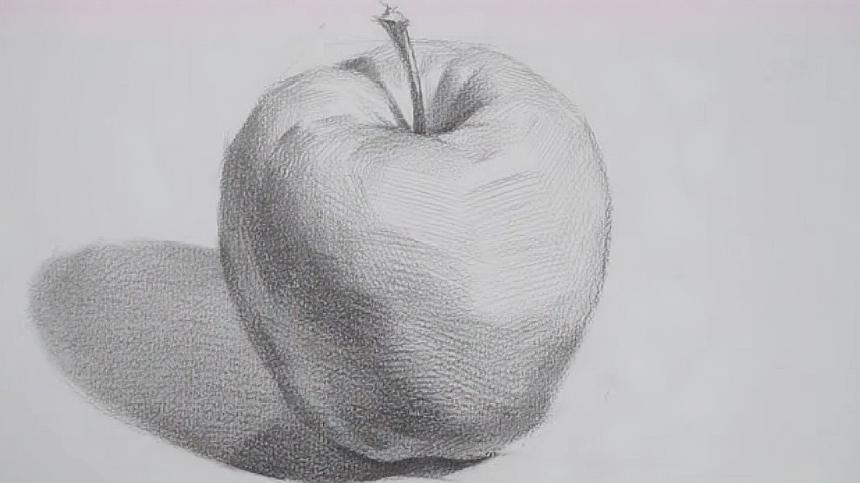 苹果的素描教程:简单的一个苹果,画起来也需要很大的技巧,厉害图片