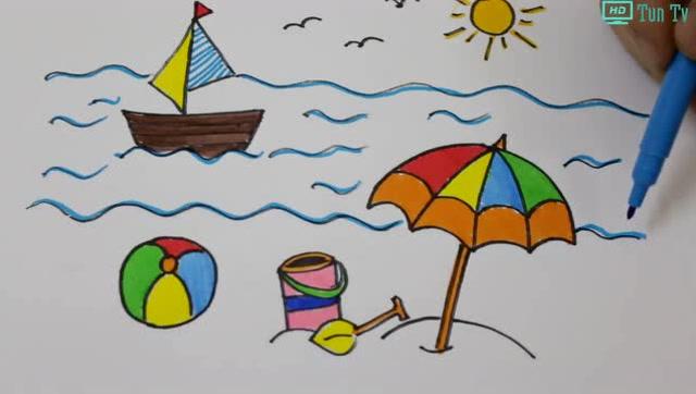 腾讯视频 沙堡简笔画:去海边玩,在沙滩堆沙堡最有趣了,你会画吗?