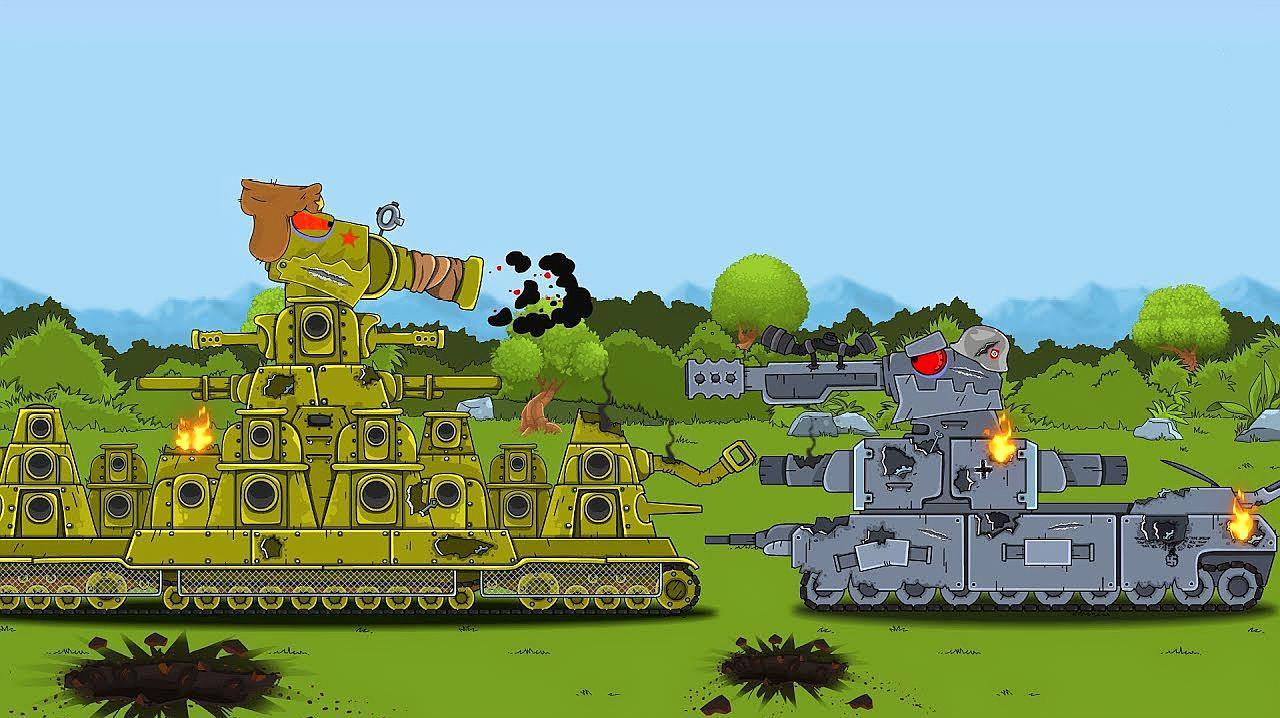 坦克世界动画:kv44与德系坦克的对决!这是火力被压制啦?图片
