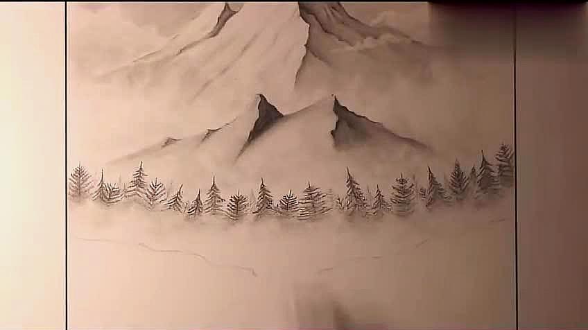 2铅笔画风景:先用铅笔轻描出房屋的轮廓,在屋顶处加黑描出,再画出房屋