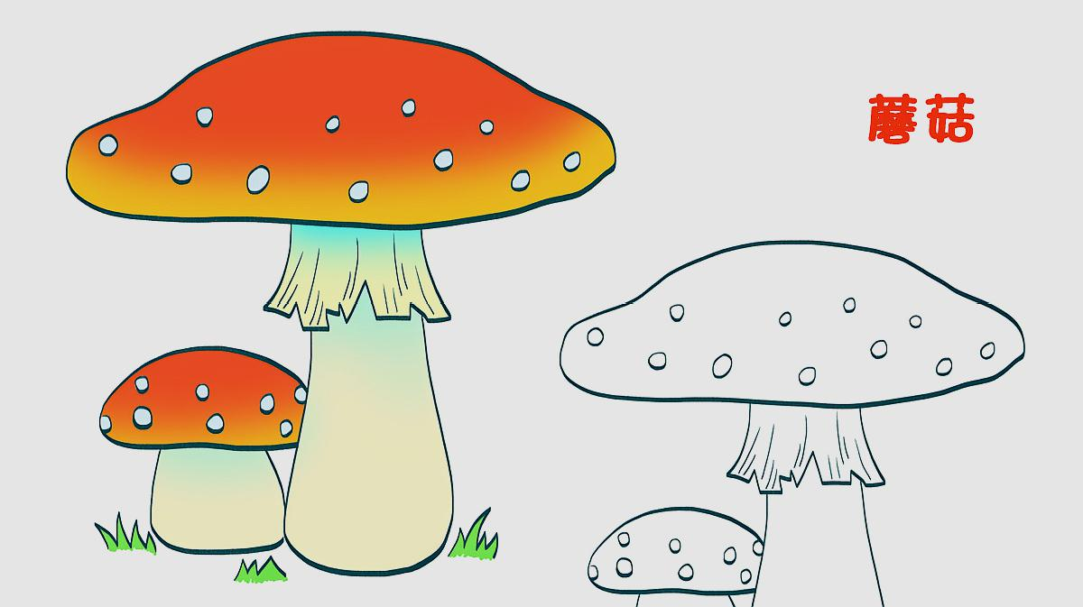 可爱的蘑菇小屋简笔画(简约型文化普通难度)-房屋_简图片