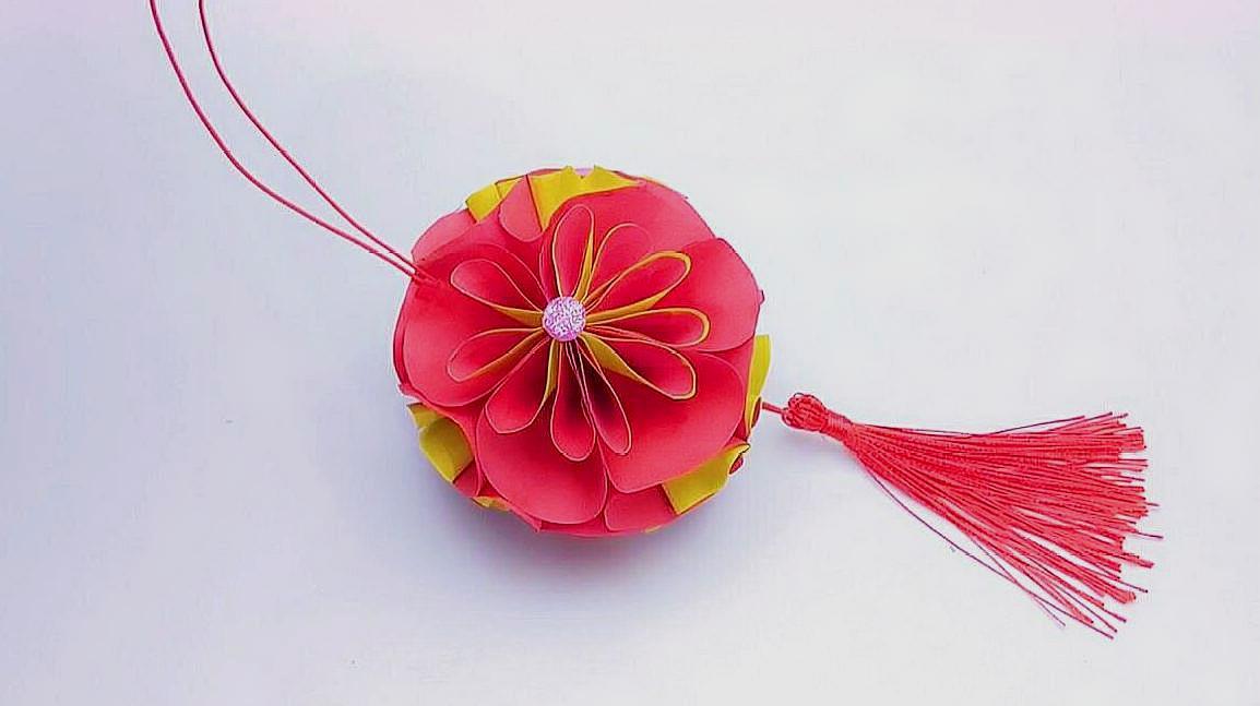 中秋节樱花灯笼折纸,孩子的手工作业不愁了,交上去老师夸漂亮