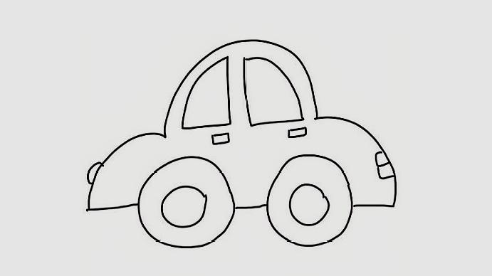 非常简单的小汽车简笔画,喜欢小汽车的小朋友赶紧学习一下吧!