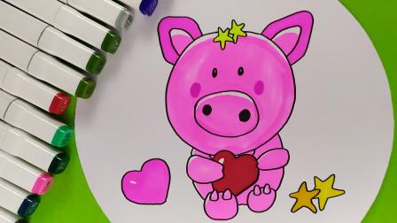 亲子创意简笔画,话一只可爱的卡通小猪,早教色彩认知视频送给你  05