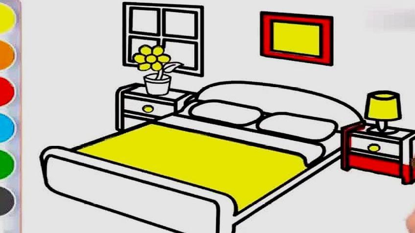 卧室简笔画:我的卧室漂亮的床,涂颜色右脑开发