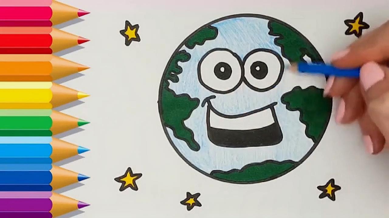 地球家园怎么画,来看看儿童简笔画的画法