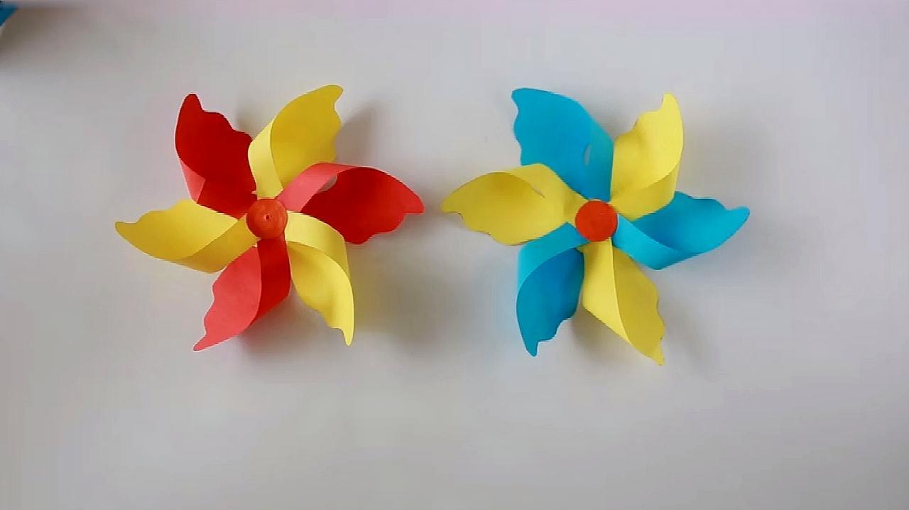 兒童手工紙風車 手工自制紙風車
