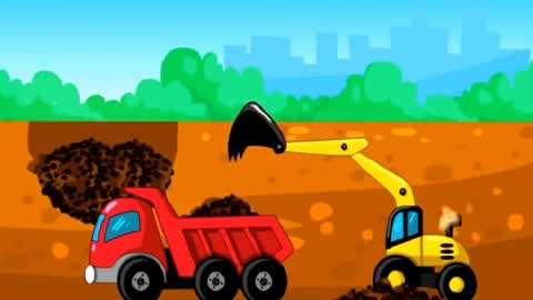 儿童卡通工程车玩具休闲益智游戏 :驾驶挖掘机大货车施工