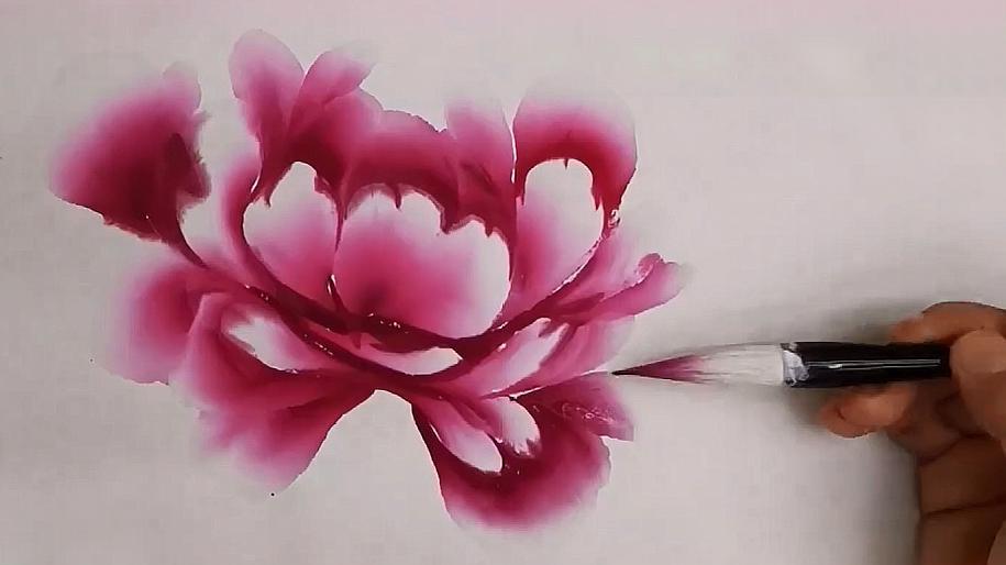 国画:教你画写意牡丹,用笔要灵活,简单又传神!