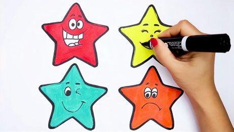 简易画教你画各种表情的五角星,你想学画吗?