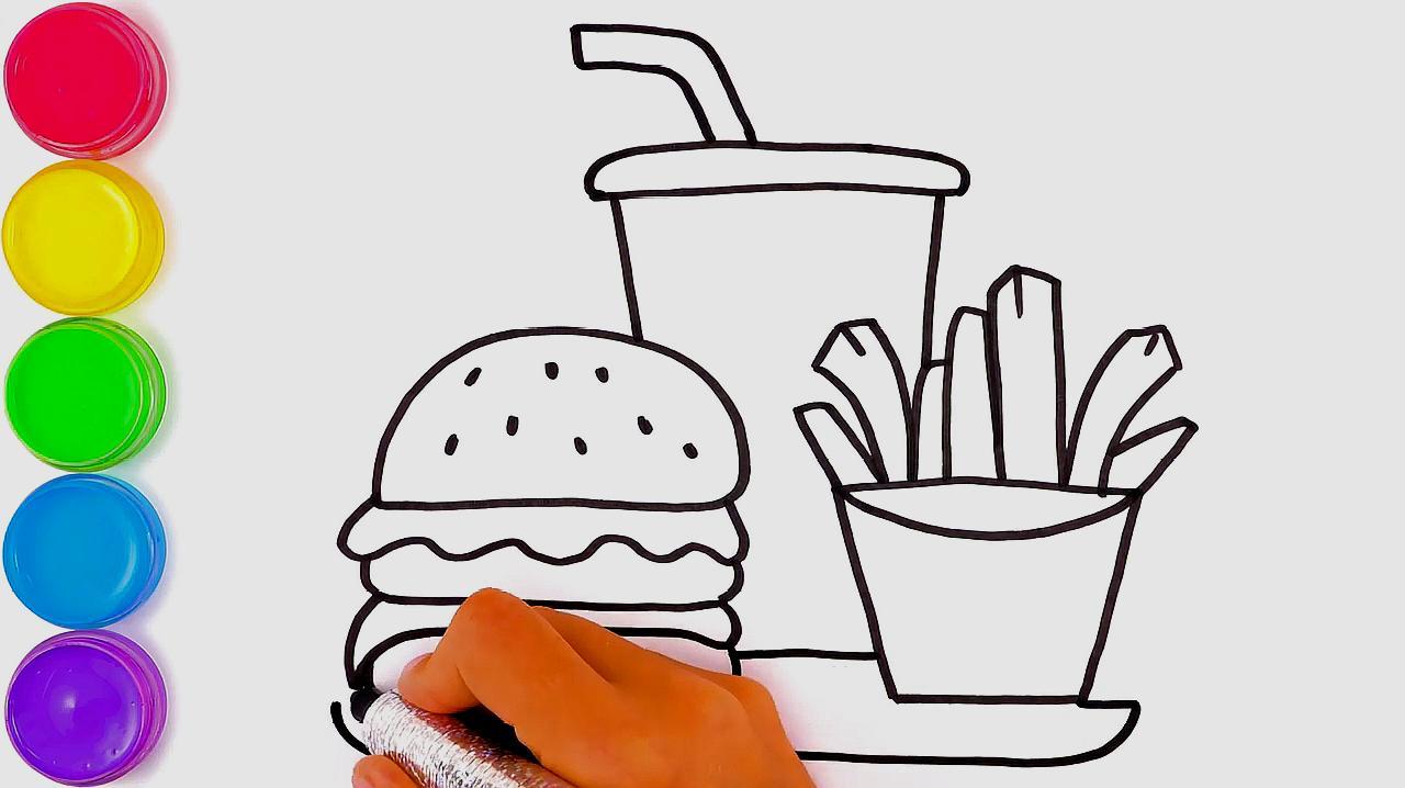 简易画教你怎么画汉堡可乐薯条