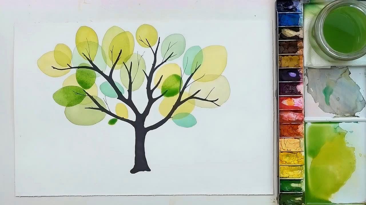 清新美丽的水彩树创意画法,简单易学,试试吧