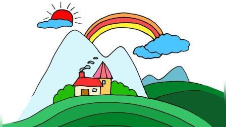 简笔画:优雅的山水风景画