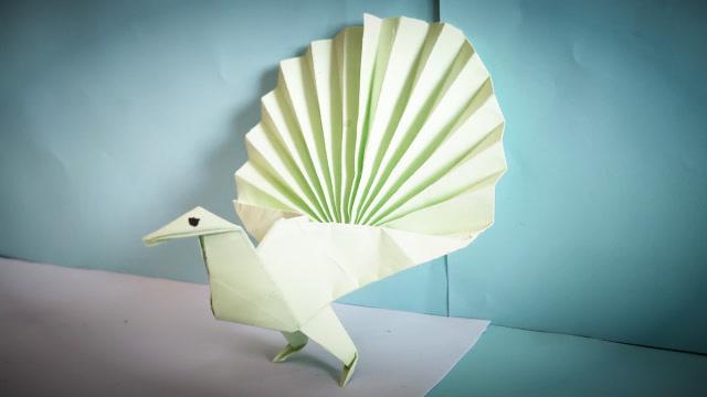 益智手工折纸:教你折一只漂亮的小孔雀,锻炼动手动脑能力好方法