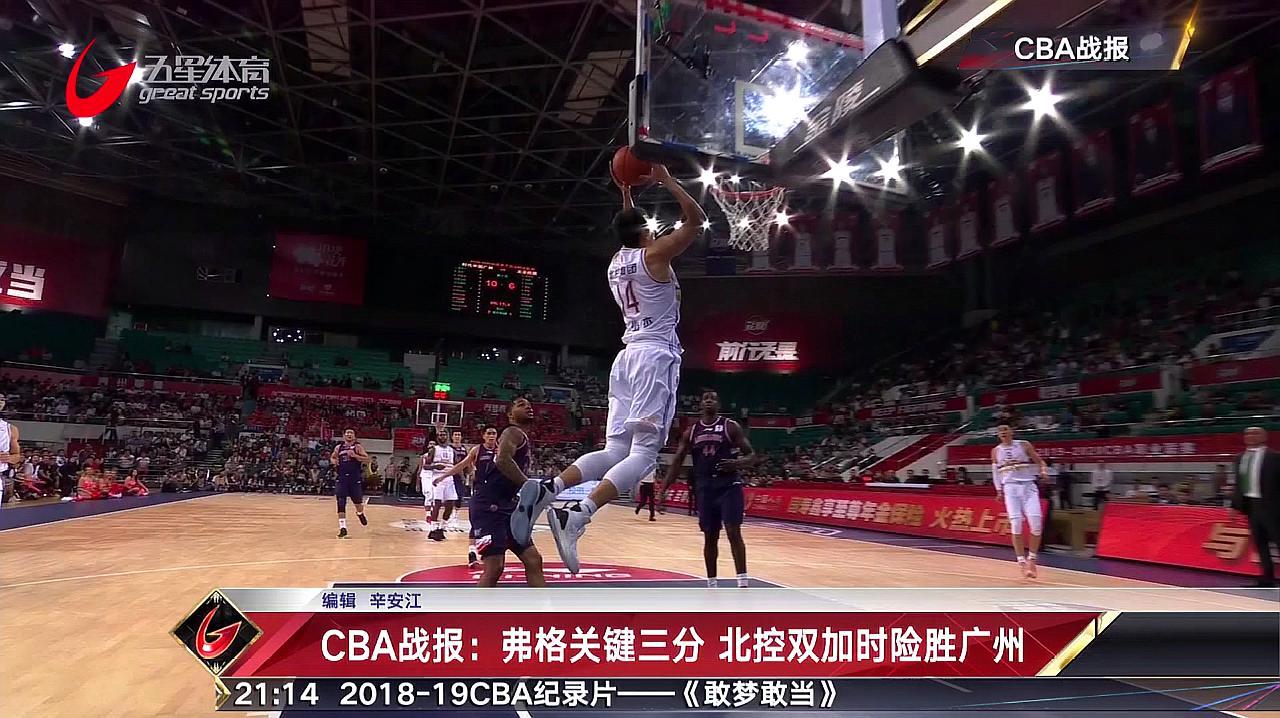 CBA战报:弗格关键三分 北控双加时险胜广州