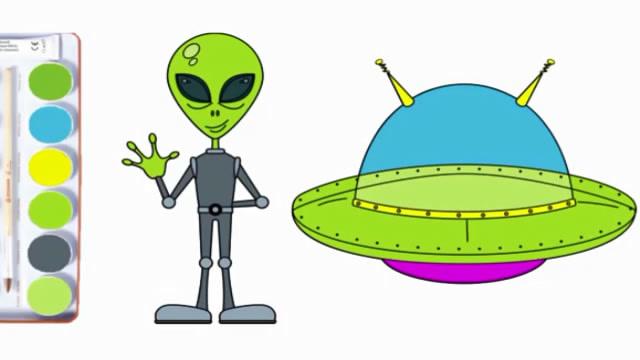 親子簡筆畫:外星人和飛碟