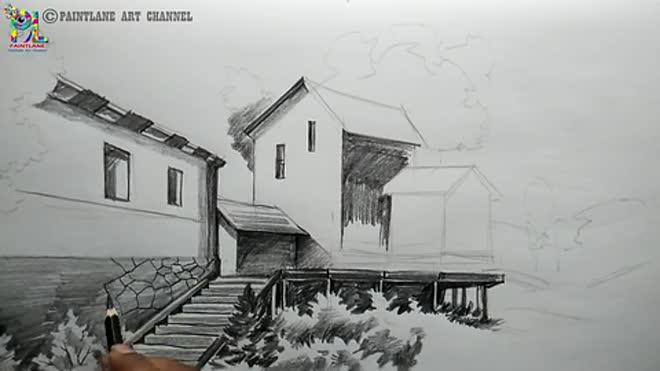 想用铅笔画一幅风景画,一起来看看怎么画吧!