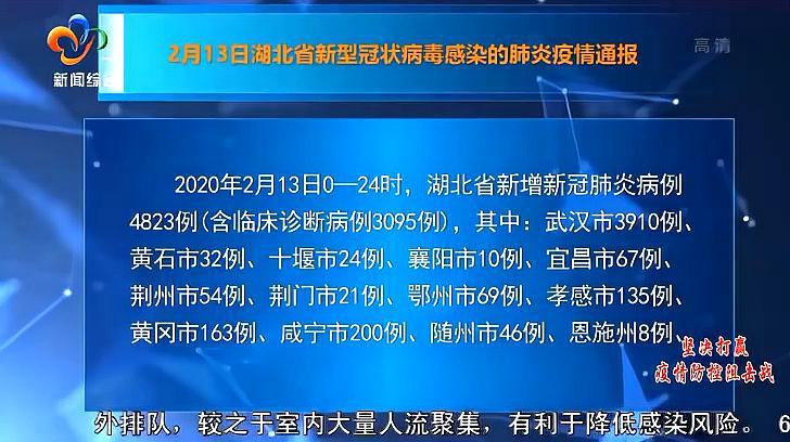 2月13日0-24时,湖北省新增病例4823例,其中武汉3910例