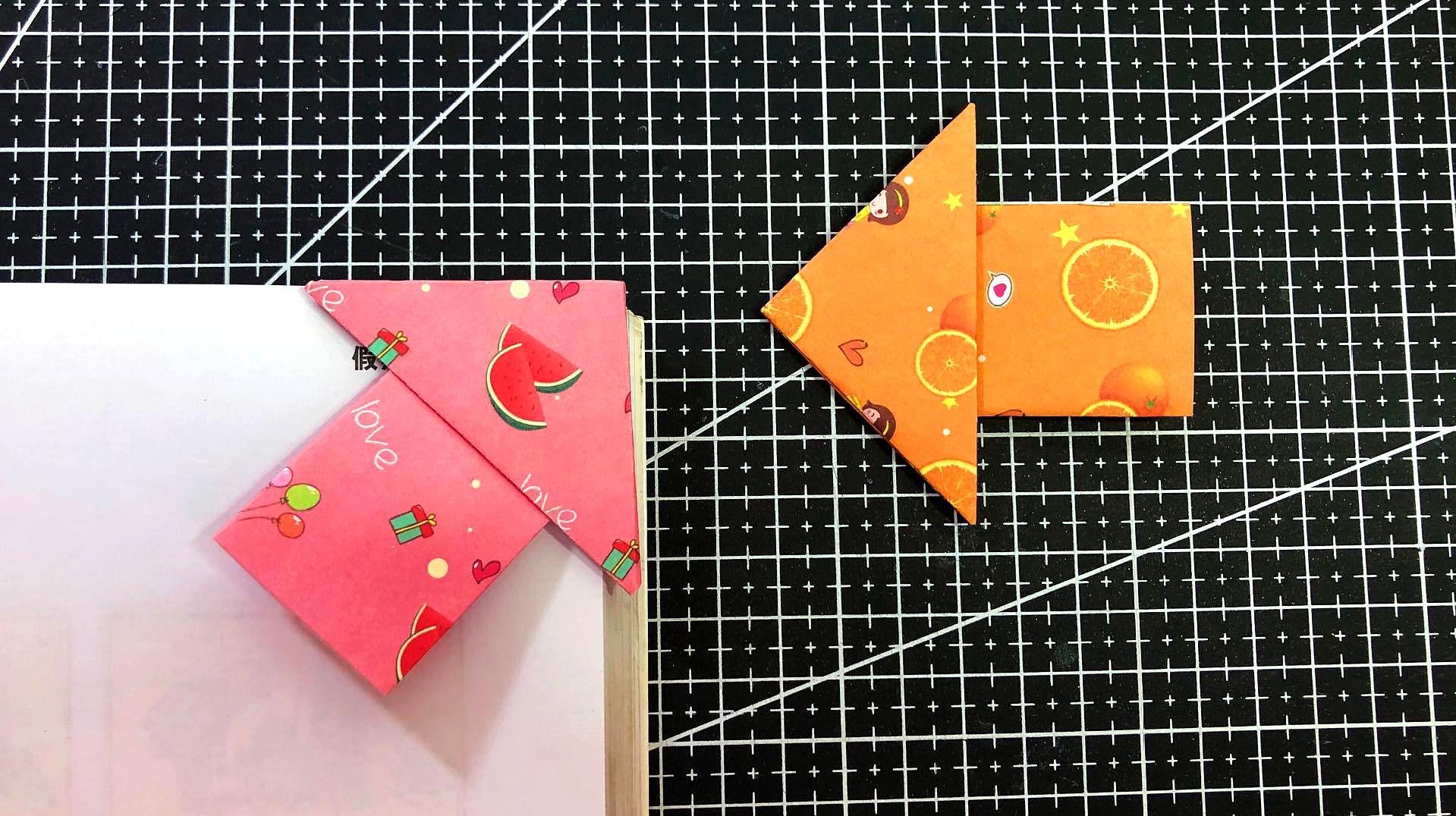 手工折纸:简单的书签折纸,看书的你非常实用哦!图片
