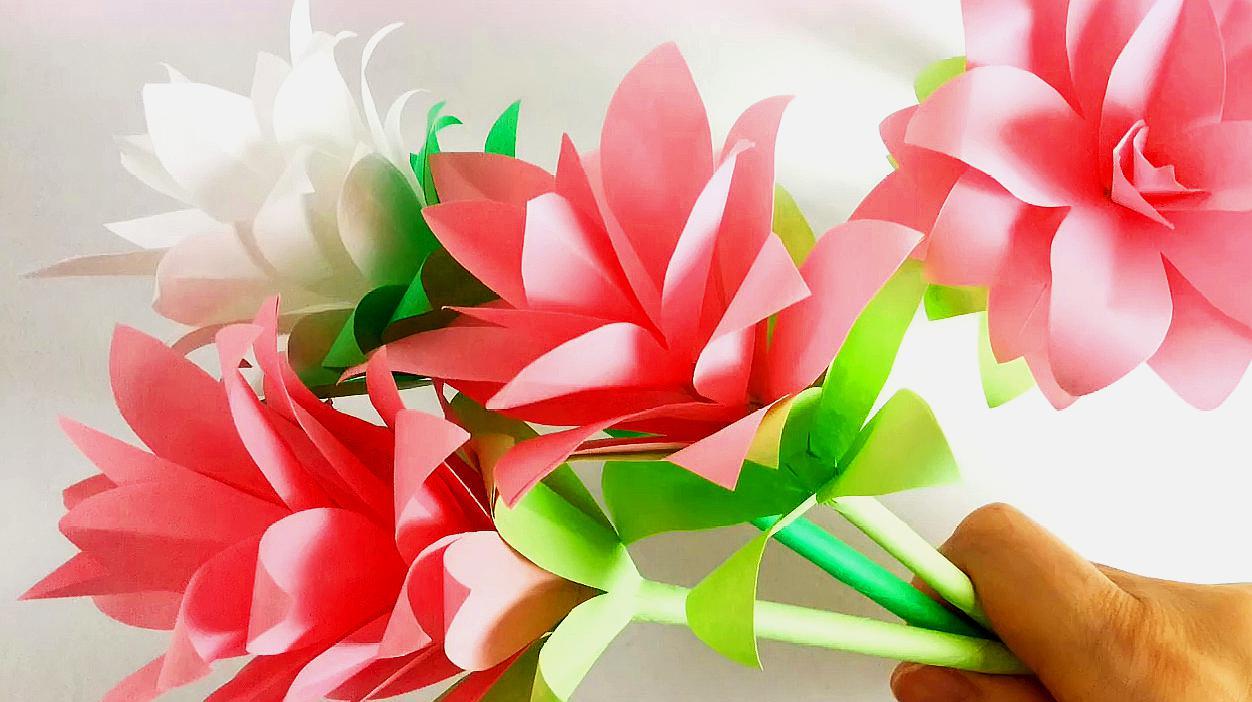 创意手工折纸剪纸diy,制作漂亮的装饰纸花