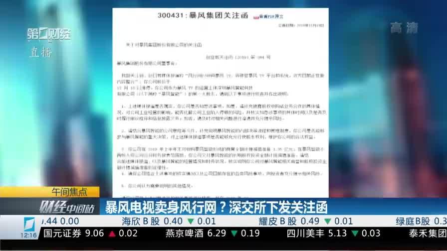 《财经中间站》:暴风电视卖身风行网?深交所下发关注函