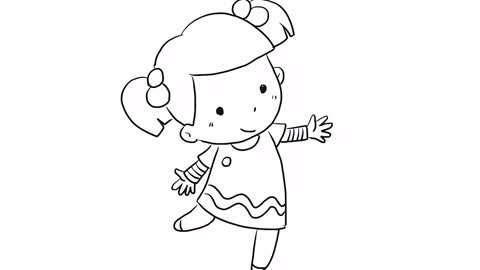 正在跳舞的可爱小女孩简笔画