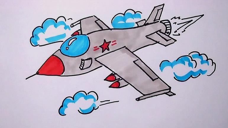 战斗机简笔画彩色教程:这么好看的战斗机,几分钟就学会了