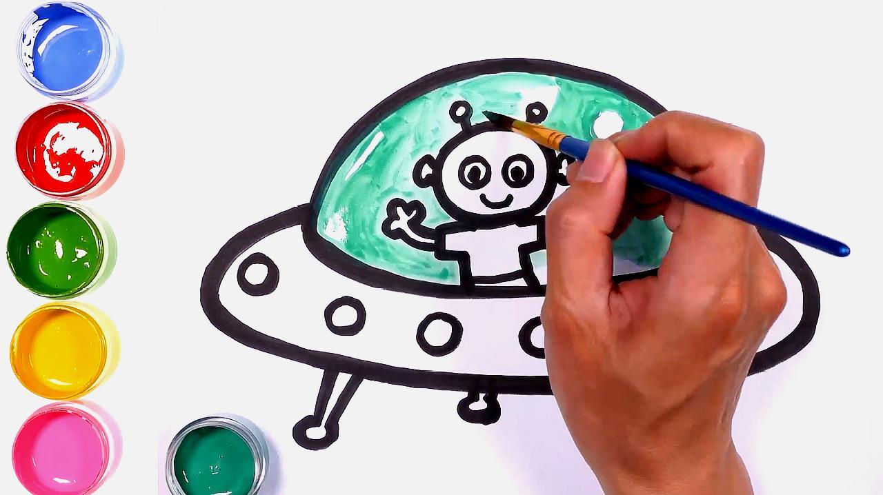 简笔画太空飞船ufo,教你画简单的ufo