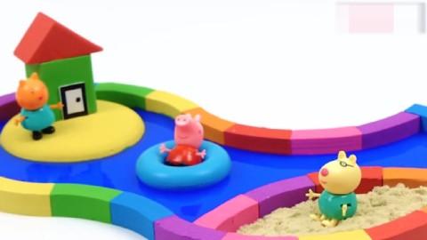 趣味创意手工,用太空沙制作小猪佩奇的彩色沙滩游泳池