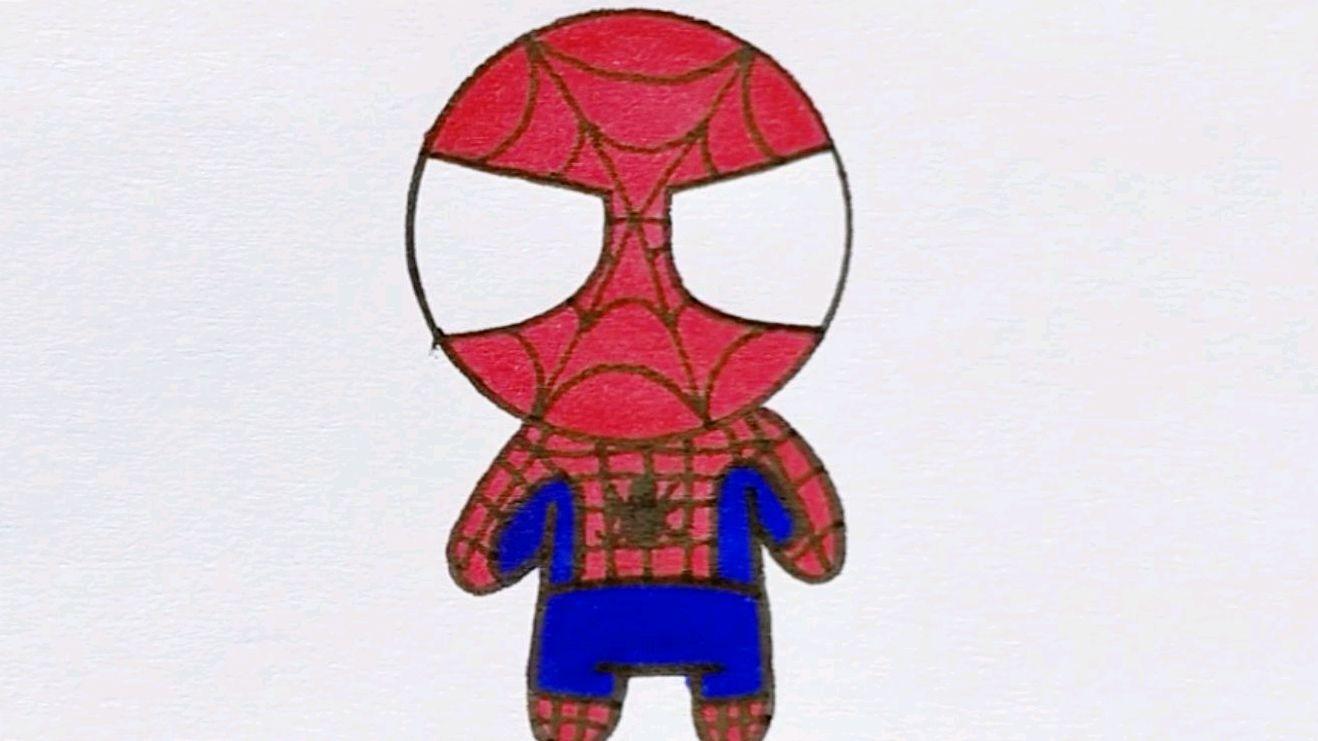 q版的蜘蛛侠简笔画