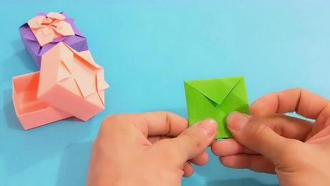 轻松学会带花朵收纳盒折纸,成品太漂亮了,拿在手上舍不得放下!