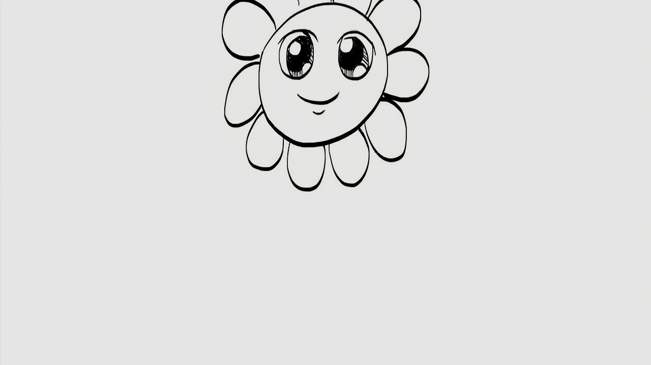 1简笔画花:先画出一个圆形,然后在里面画出大大的眼睛和嘴巴使花更