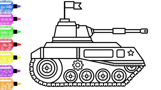 儿童简笔画:小坦克画画