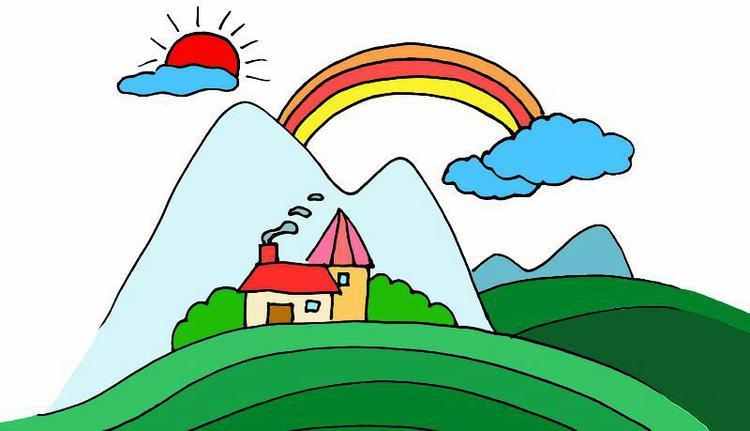 漂亮的山间风景一角简笔画