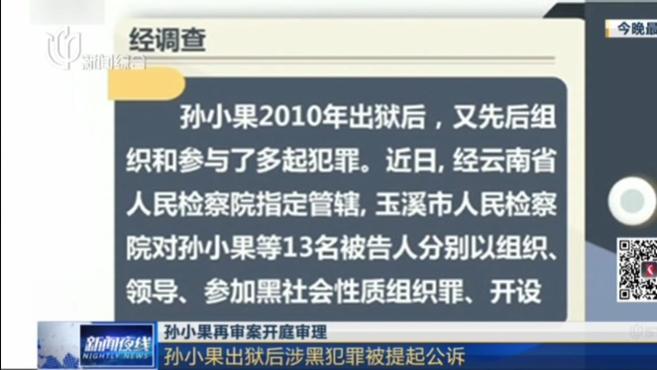 孙小果再审案开庭审理:孙小果出狱后涉黑犯罪被提起公诉