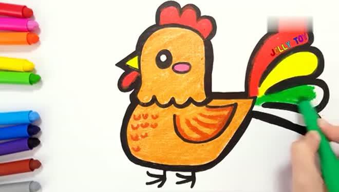 儿童填色简笔画:母鸡与小鸡