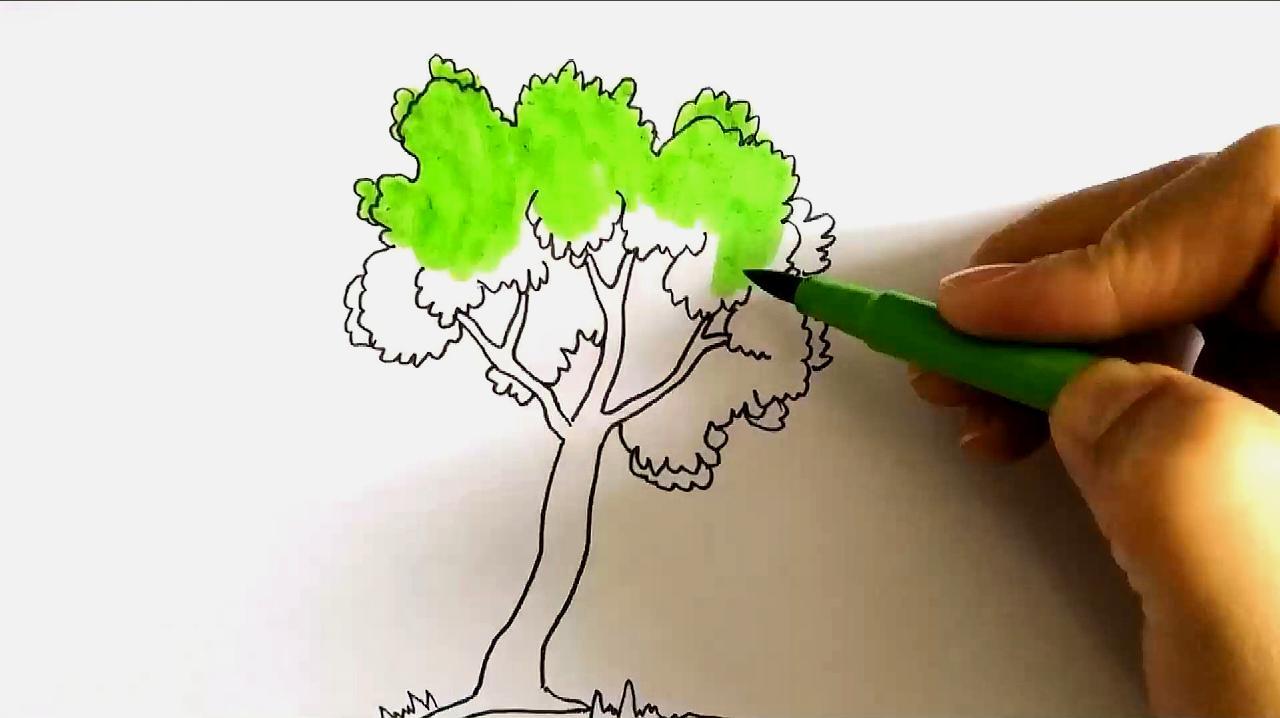 怎么画秋天的树叶图片