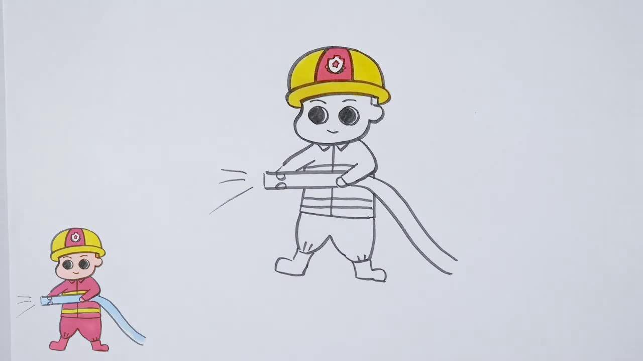 消防画大全,消防员的简笔画,好喜欢