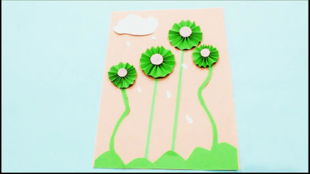 优酷-儿童手工制作大全 荷塘月色贴画 创意折纸 3纸艺郁金香花丛粘贴
