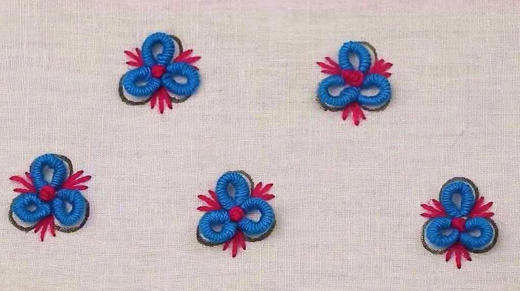 手工刺绣三叶小花朵欣赏,简单漂亮,新手一看就会刺绣
