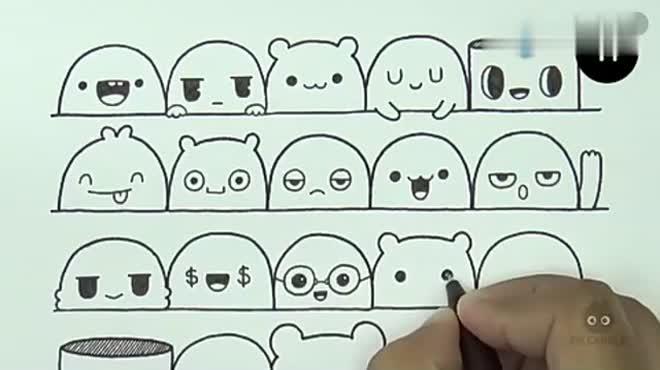 超萌的简笔画小表情,怎么会这么可爱,简单又好画,做手账的时候用的上