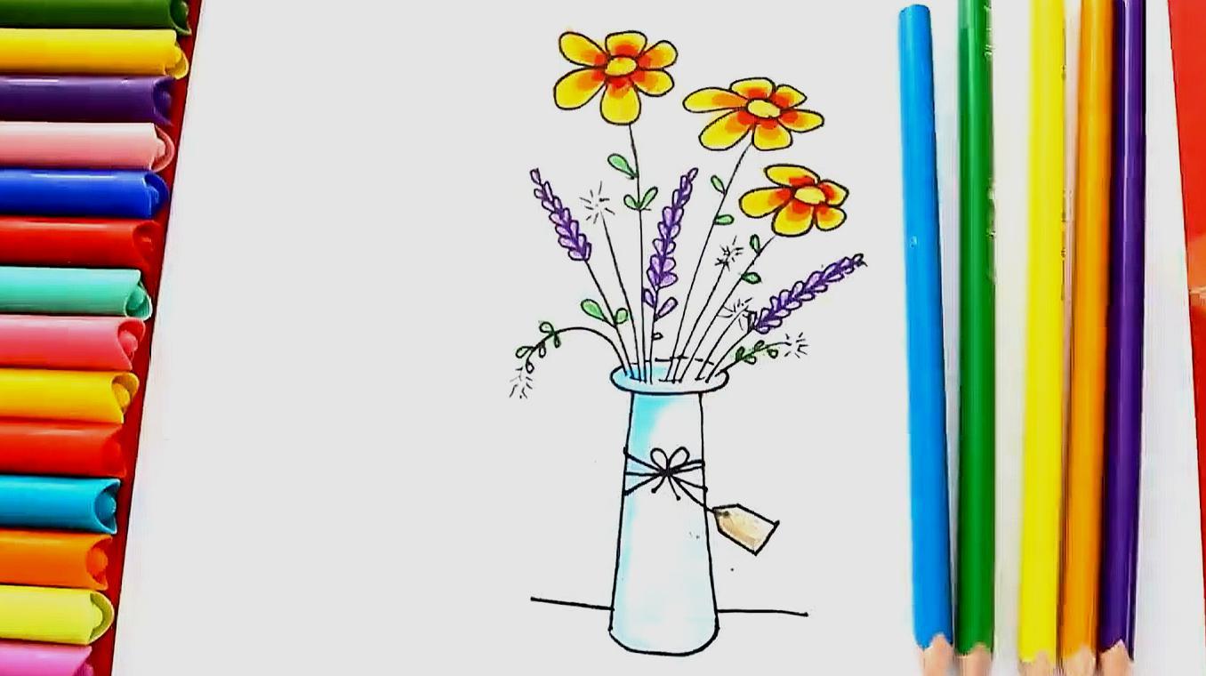 幼儿简笔画花瓶带颜色 幼儿简笔画花瓶涂色