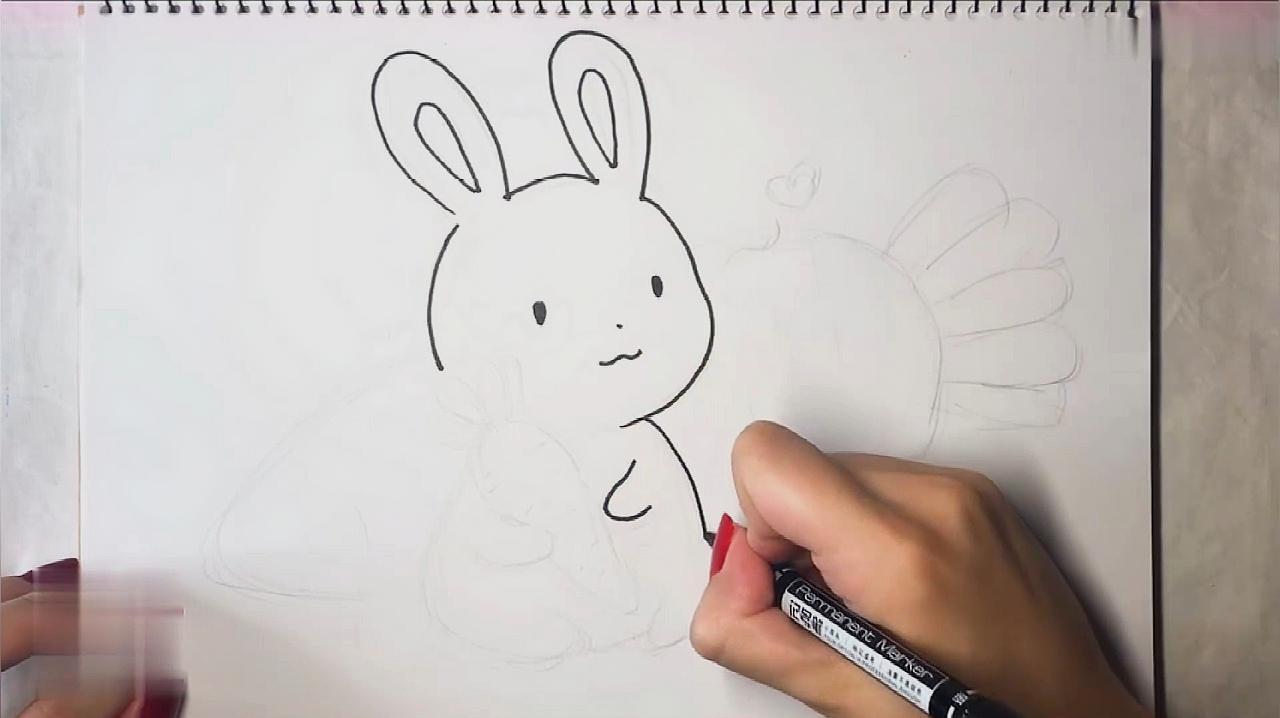 小兔子的簡筆畫:呆萌的小兔子簡筆畫!簡單好學,可以畫在手抄報