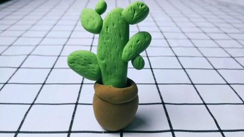 橡皮泥手工制作仙人掌