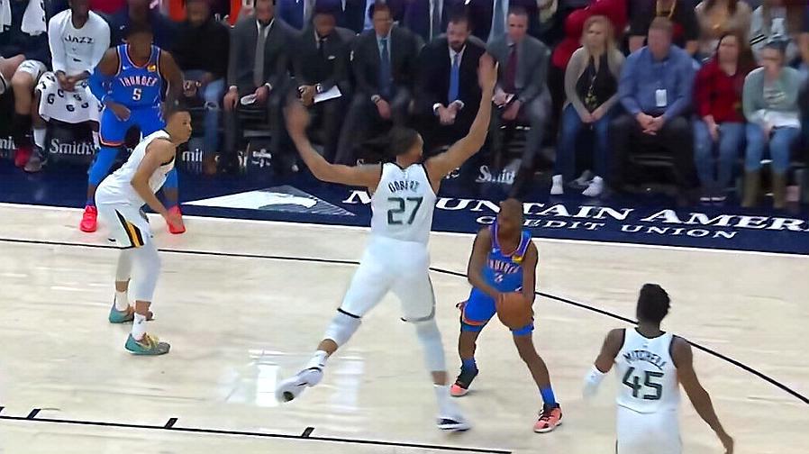 保罗晃晕戈贝尔!雷霆vs爵士2019 NBA赛季