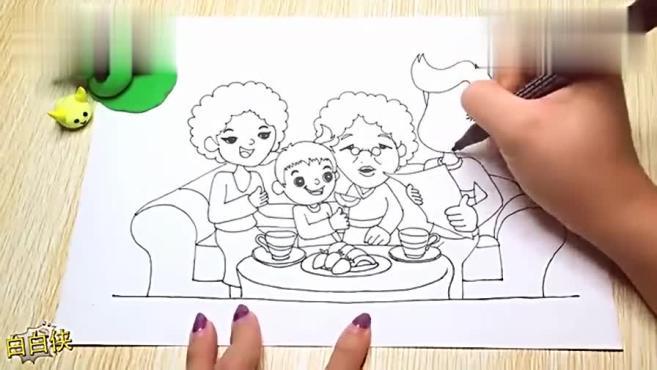 儿童幼儿简笔画 超萌北鼻全家福